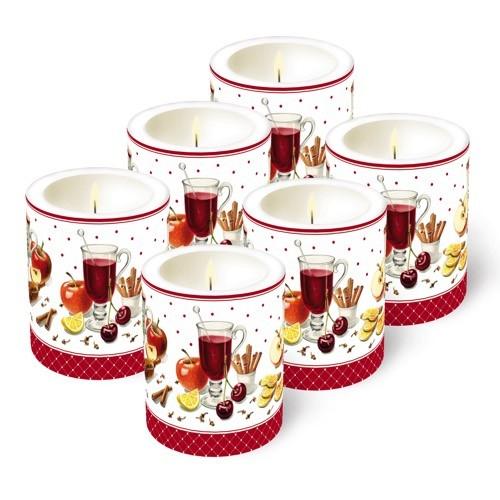 6 Kerzen (Weihnachten), Ø 9cm, Höhe 10cm