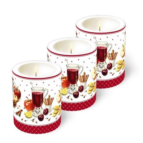 3 Kerzen (Weihnachten), Ø 9cm, Höhe 10cm