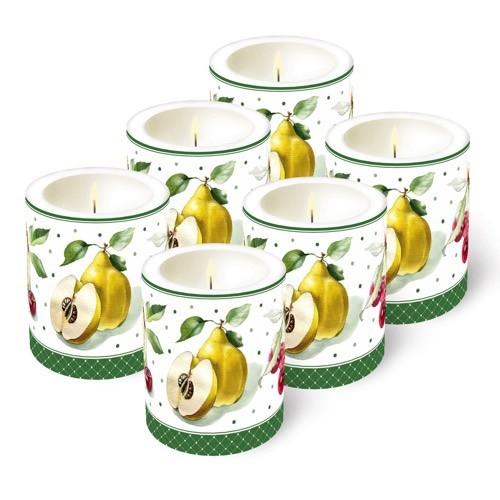 6 Kerzen (Früchte), Ø 9cm, Höhe 10cm