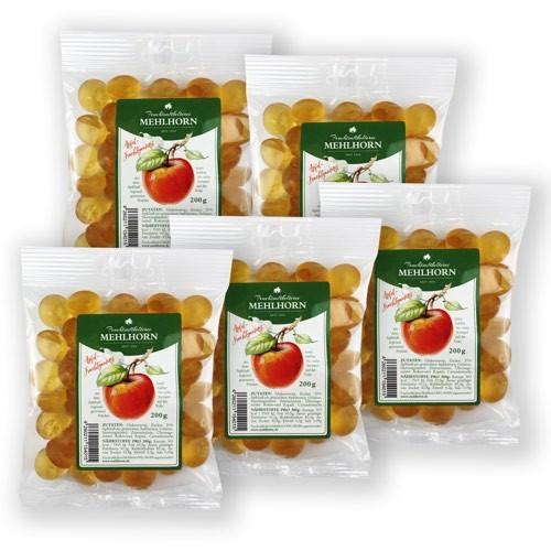 Apfelsaft- Fruchtgummis aus Apfelsaft regional geernteter Früchte, Naschpaket, 5x200g